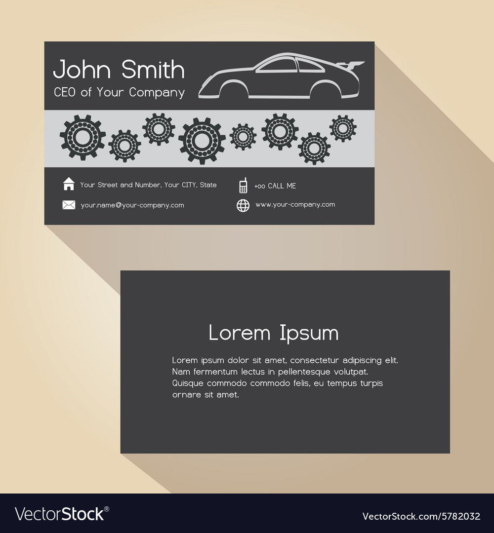 Car store and mechanic garage simple business card car store and mechanic garage simple business card vector image colourmoves