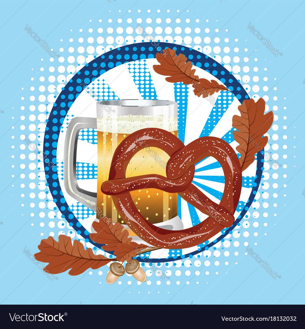 Cartoon pretzel with beer vector image