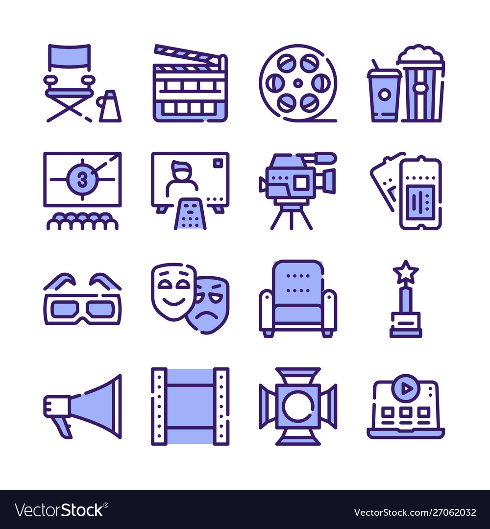 Cinema production color icons set