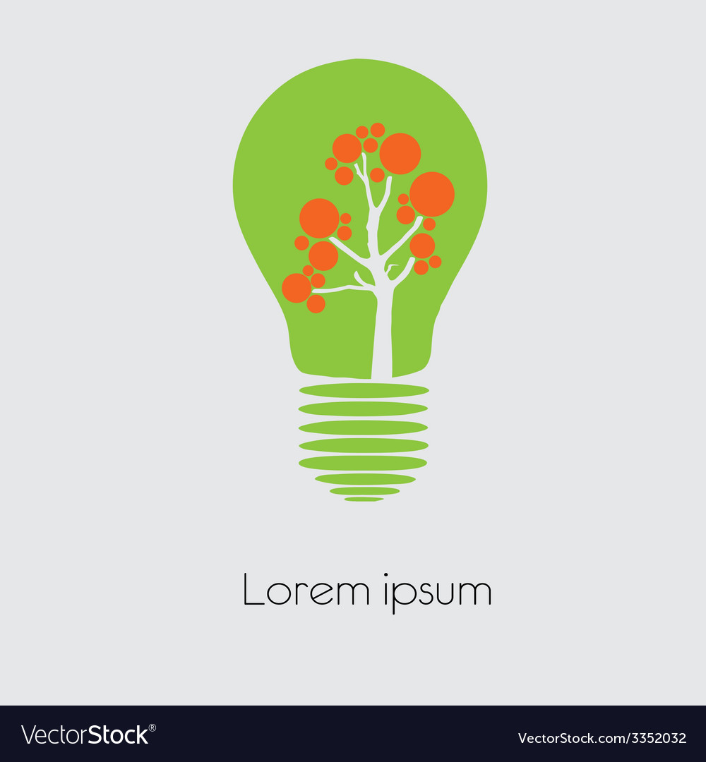 Concept tree in light bulb symbol of renewable vector image on VectorStock