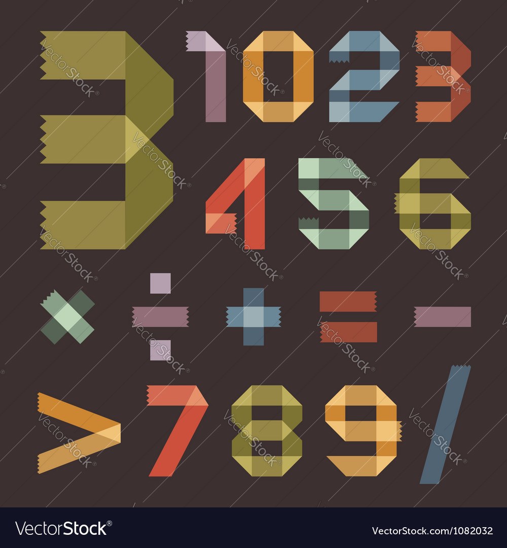 Font from colored scotch tape - Arabic numerals