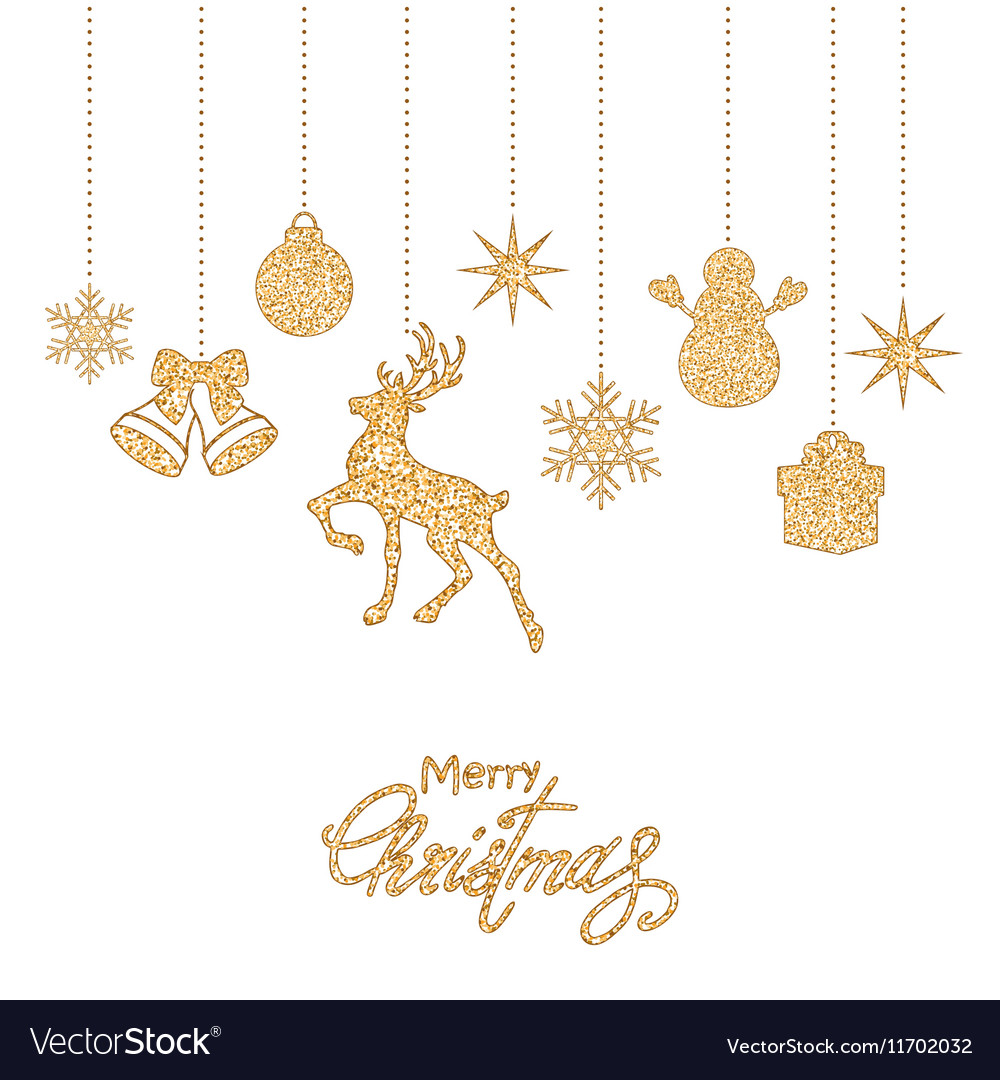 Golden Christmas decorations vector image