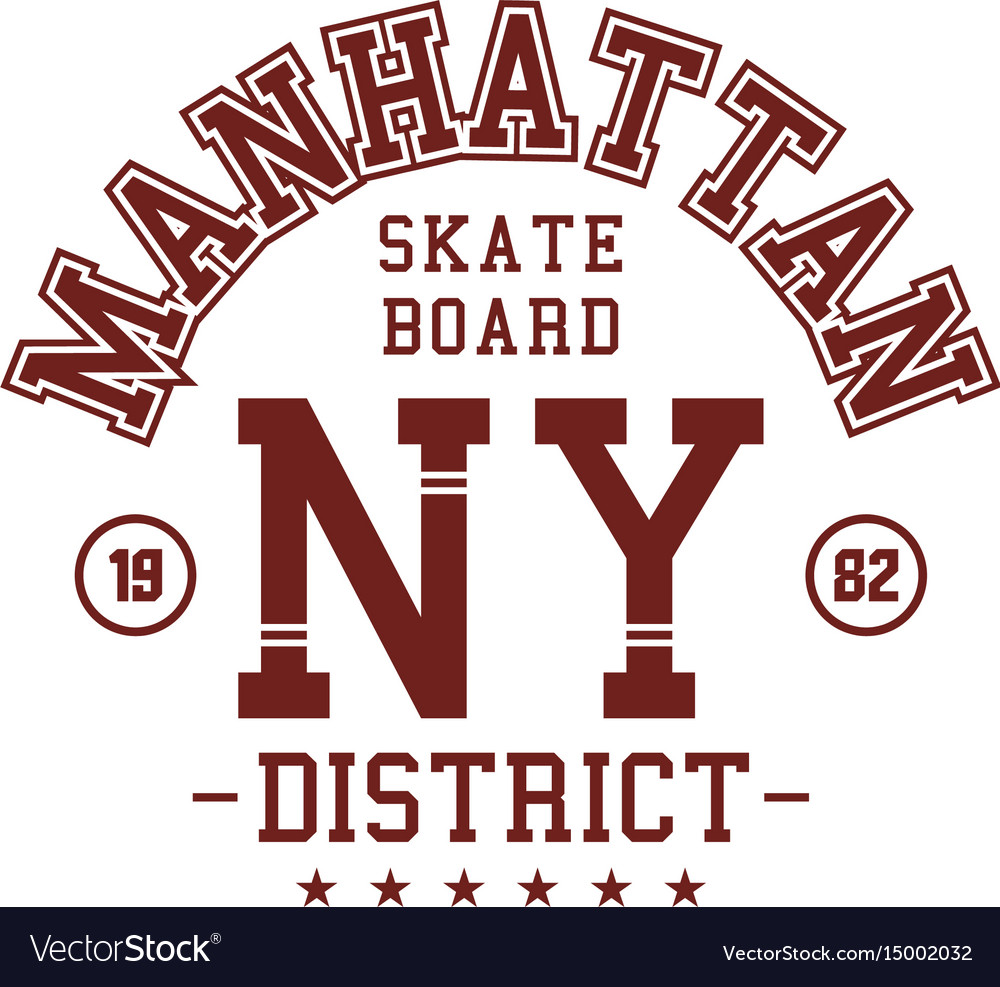 Graphic Design Manhattan Skater Board For T Shirts