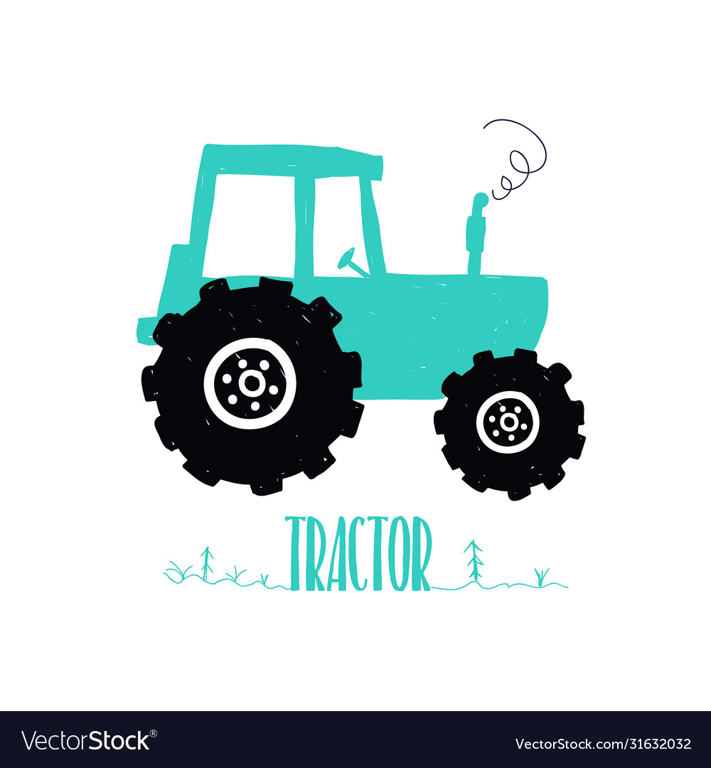 Hand drawing tractor print design