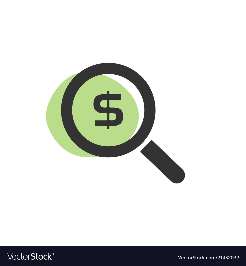 Magnifying glass looking for dollars isolated web