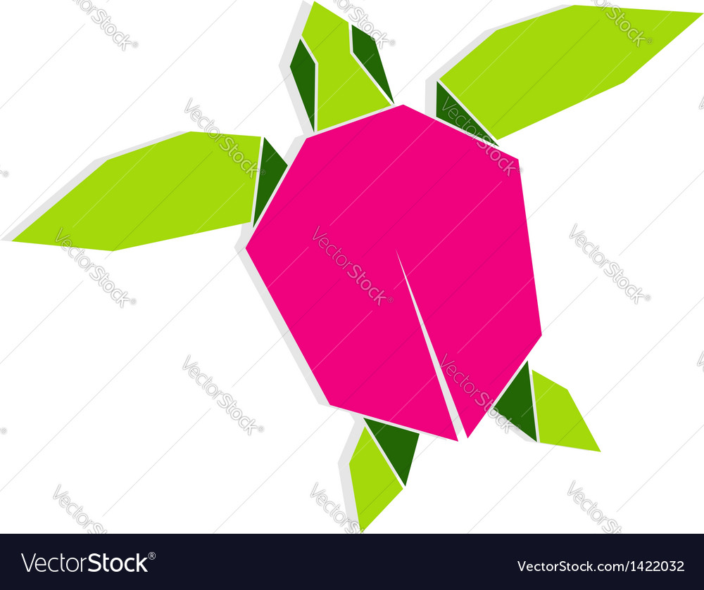 Multicolored Origami Turtle Royalty Free Vector Image