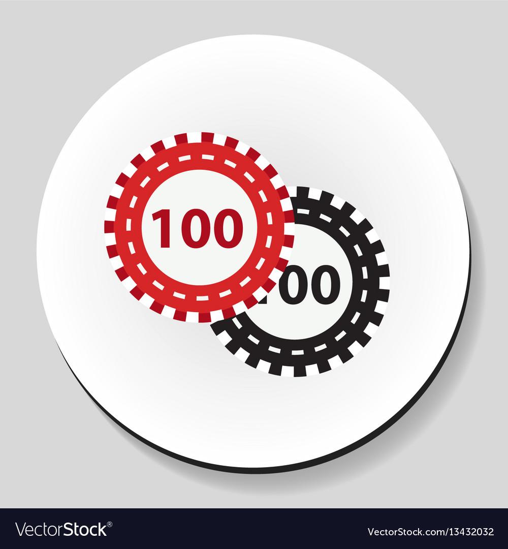 Poker chips sticker icon flat style