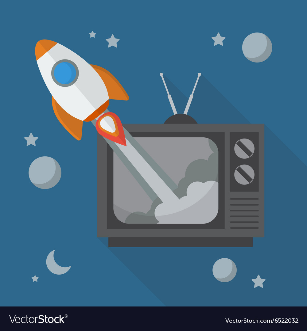 Rocket launching from retro television