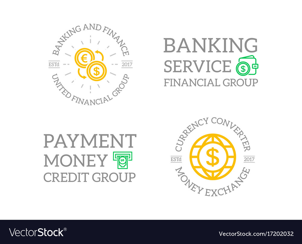 Set of retro vintage money and bank atm wallet vector image
