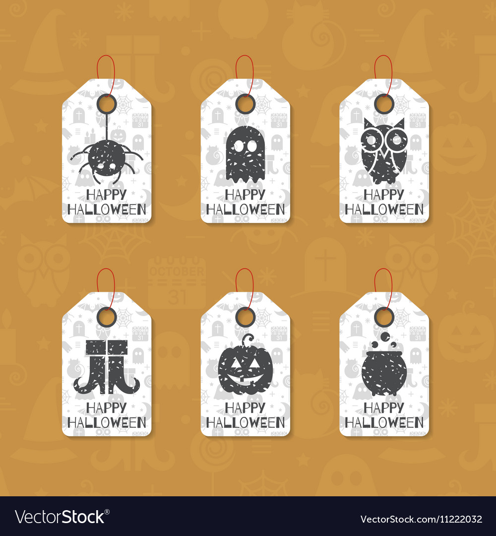 Halloween Gift Tags.Set Of Six Grunge Gift Tags For Halloween Vector Image On Vectorstock