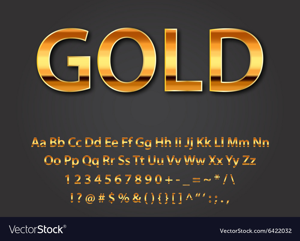 Shiny gold letters vector image