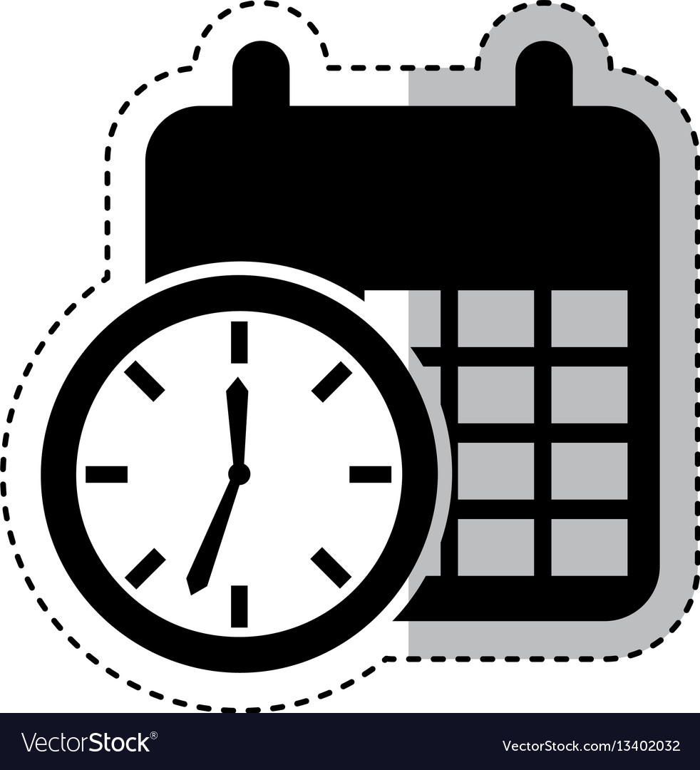 Time clock with calendar isolated icon vector image
