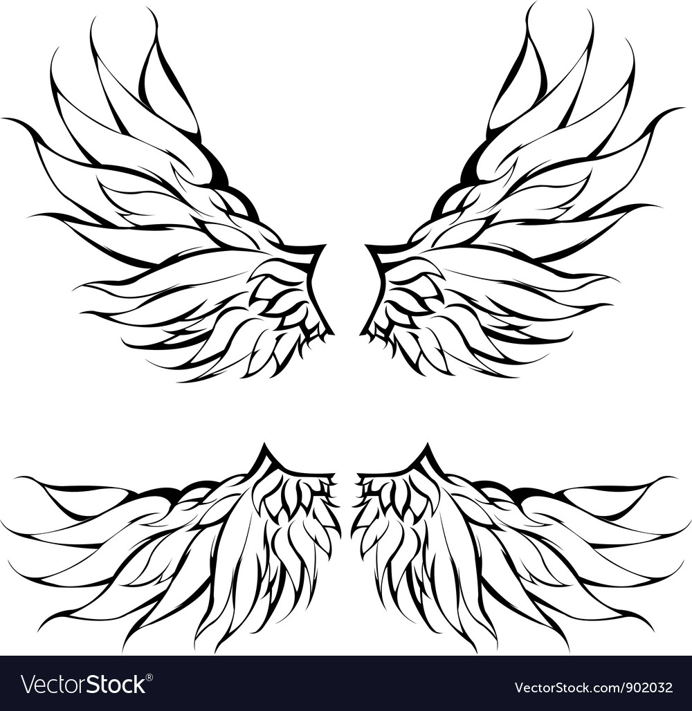 Tattoo Designs Wings: Tribal Wings Tattoo Design Royalty Free Vector Image