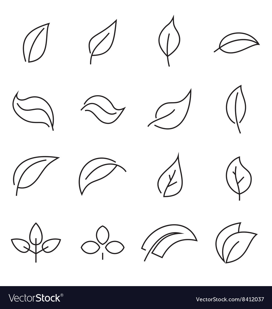 Abstract linear leaf icons