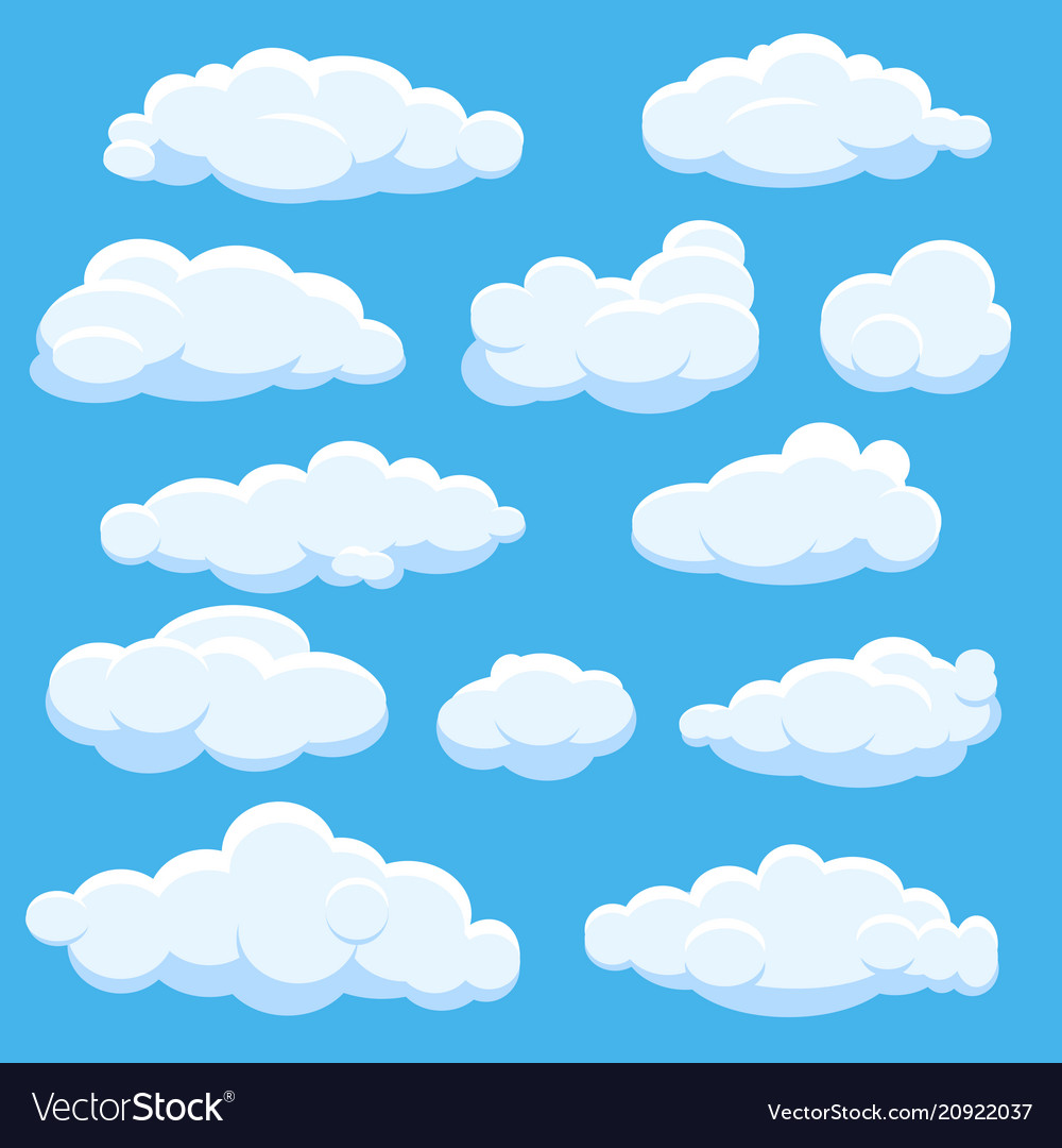 Cartoon clouds on blue sky vector image