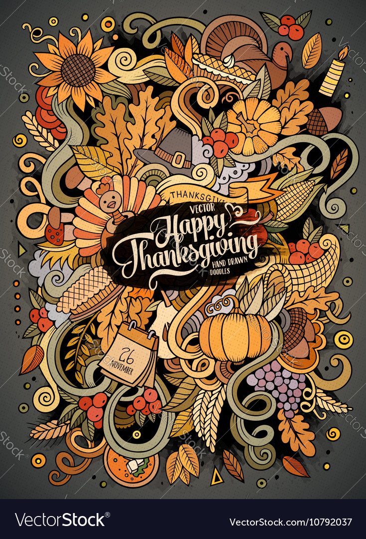 Cartoon cute doodles hand drawn Thanksgiving