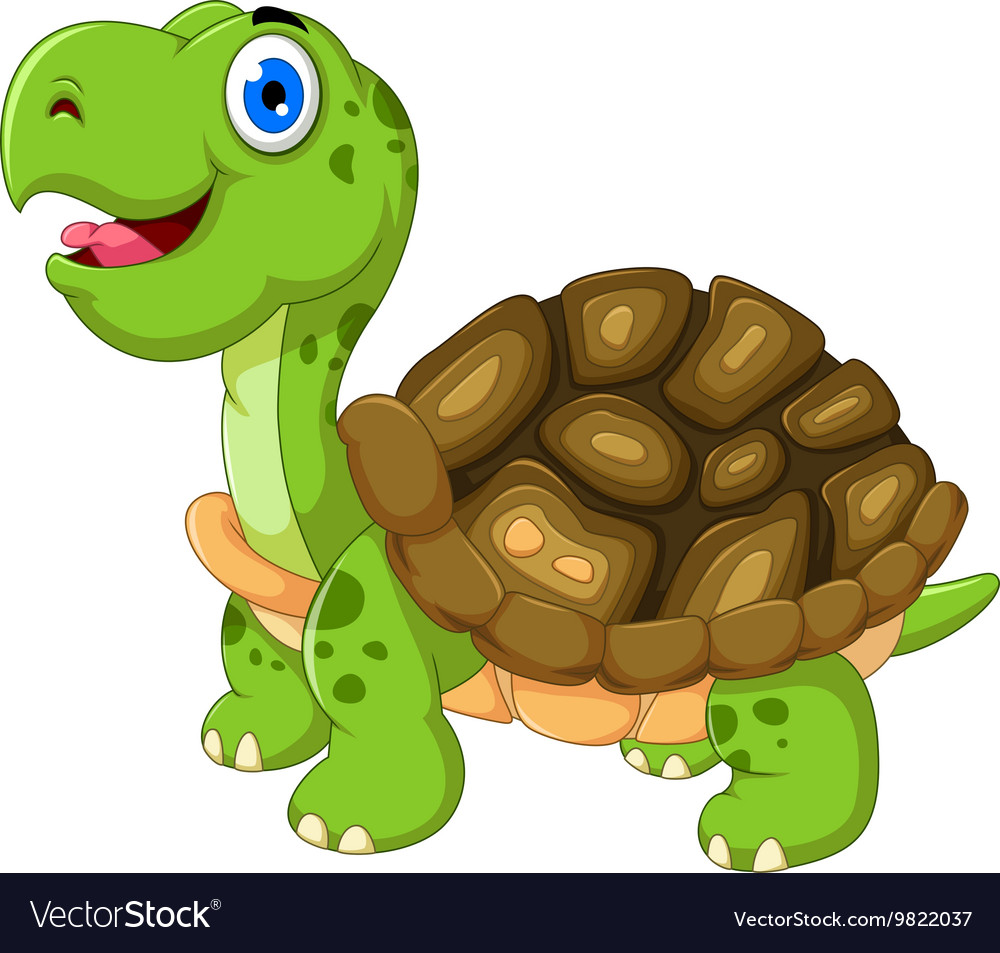 Cut cartoon turtle posing