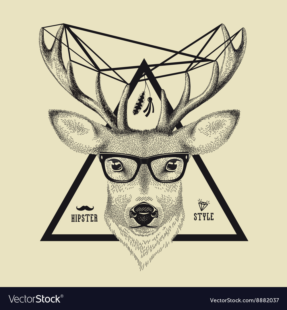 Hand drawn of a deer head in hipster style