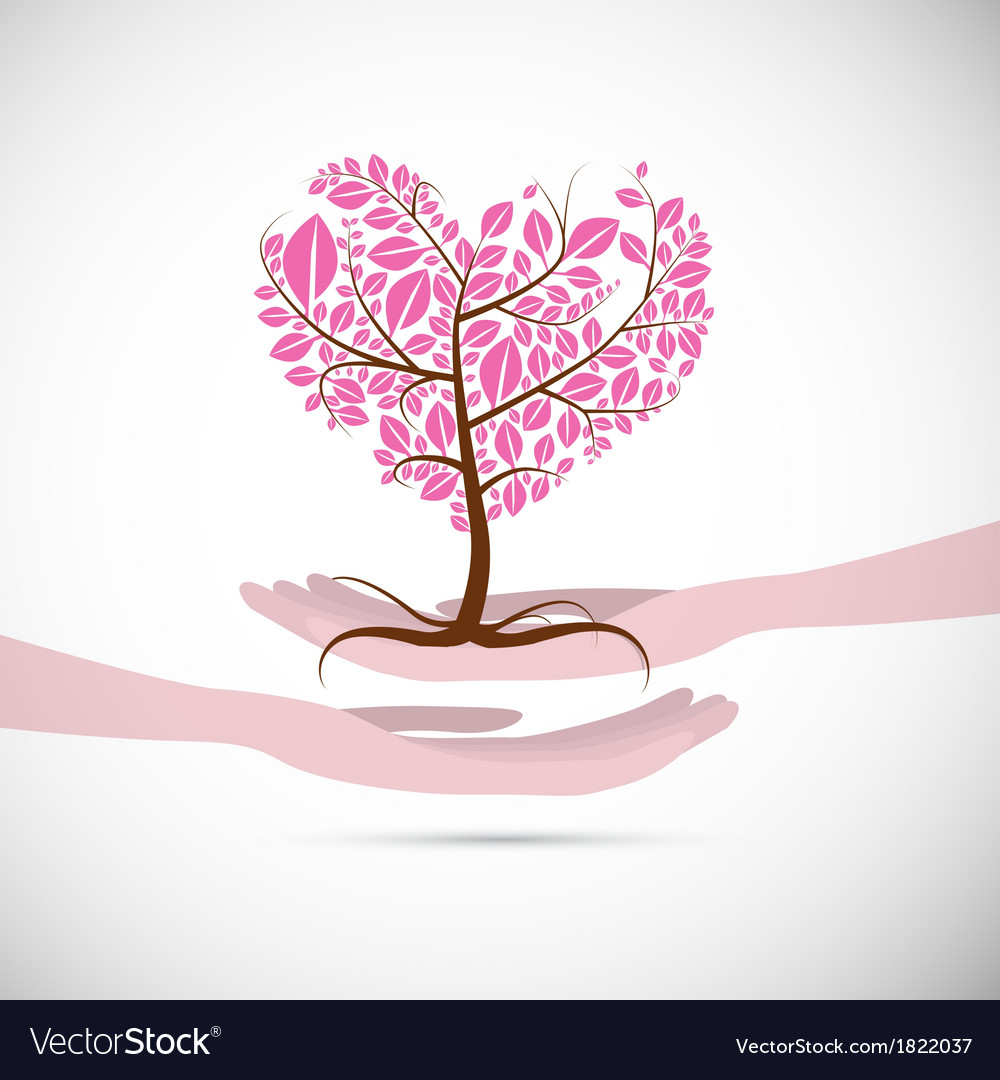 Heart Shaped Abstract Pink Tree in Human Hands