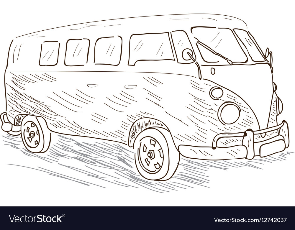 Isolated outline of a van