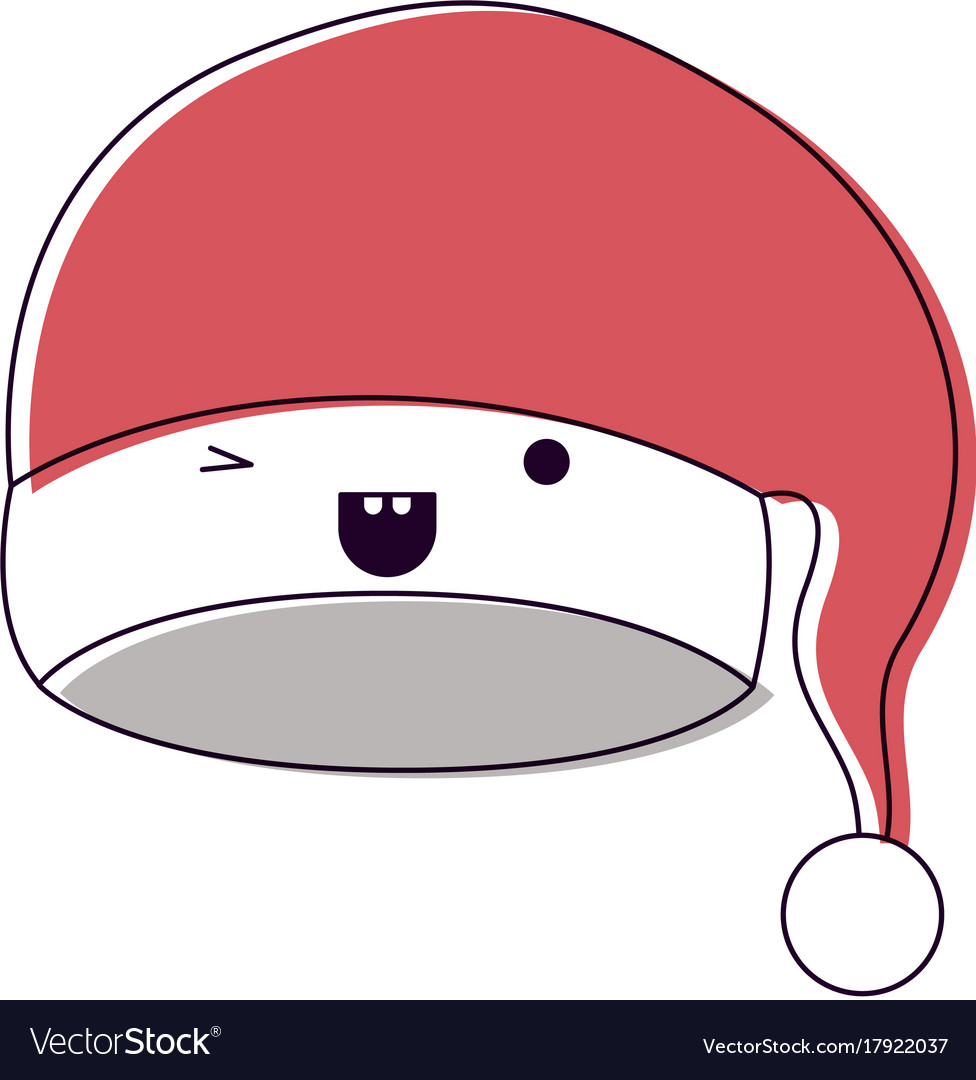 ed186dd6e8d0a Kawaii christmas hat santa claus wink eye Vector Image