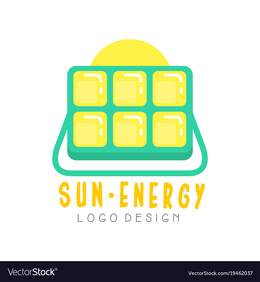 Logo design with solar battery for producing eco
