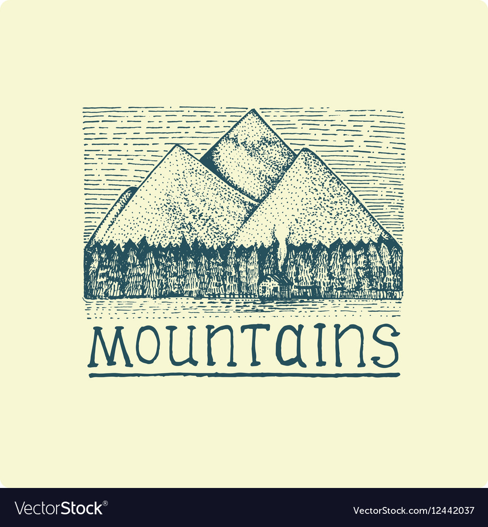 Mountains with house and forest engraved hand