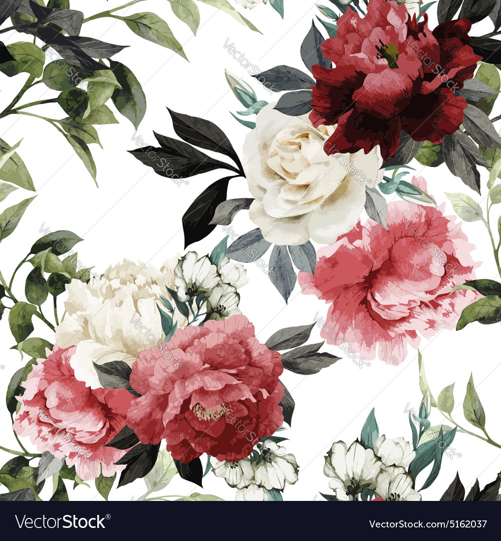 Seamless floral pattern with roses watercolor