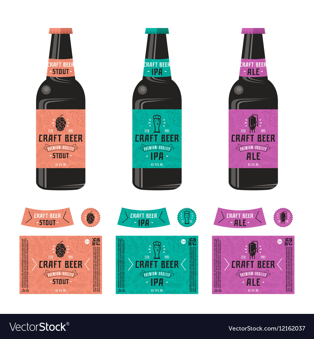 Set of templates label for craft beer vector image