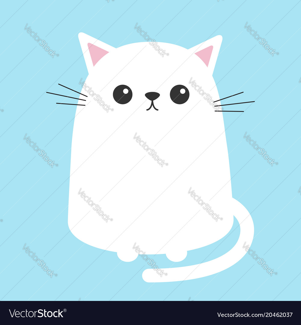 White Cat Sitting Kitten Cute Cartoon Kitty Vector Image