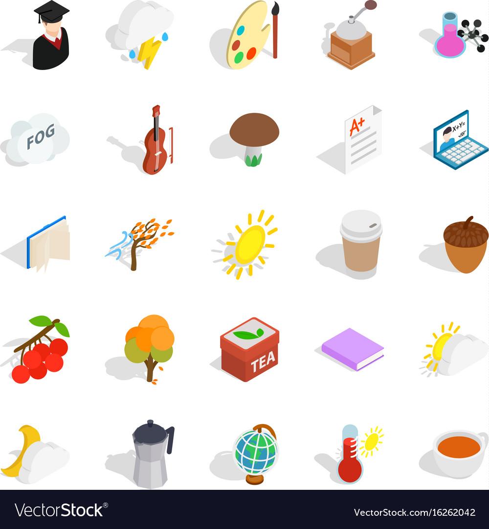 Academic year icons set isometric style vector image