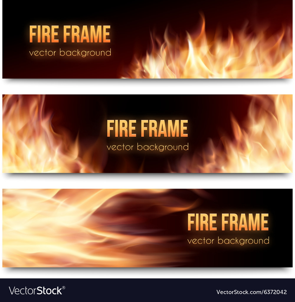 Banners set with realistic fire flames