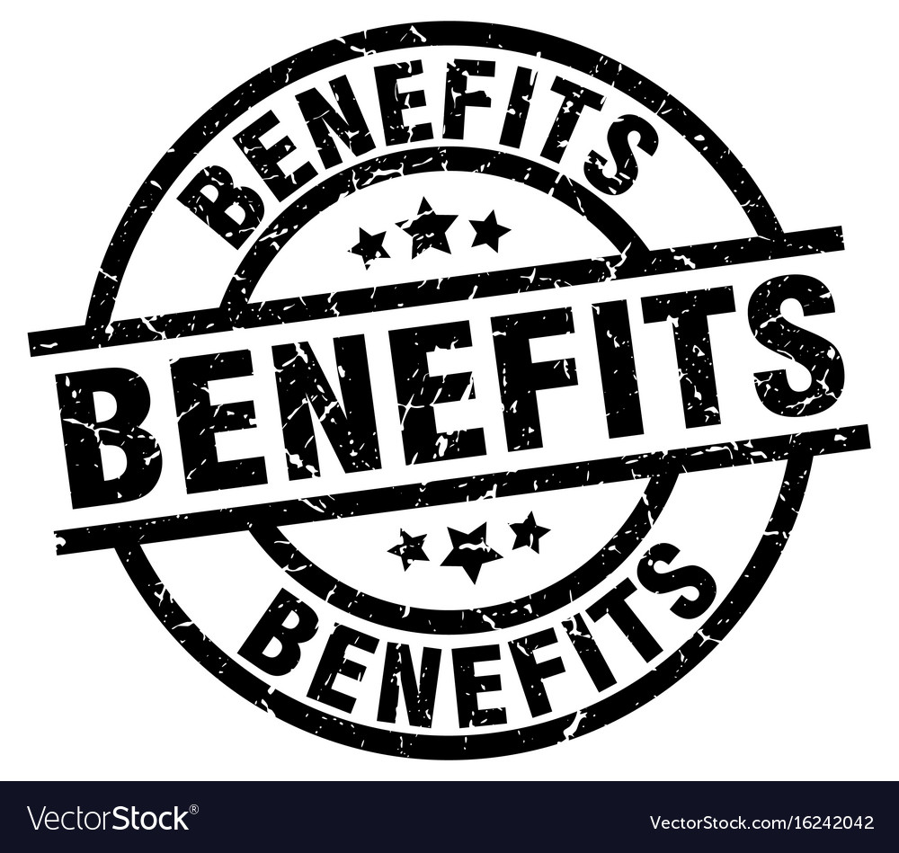 Benefits round grunge black stamp