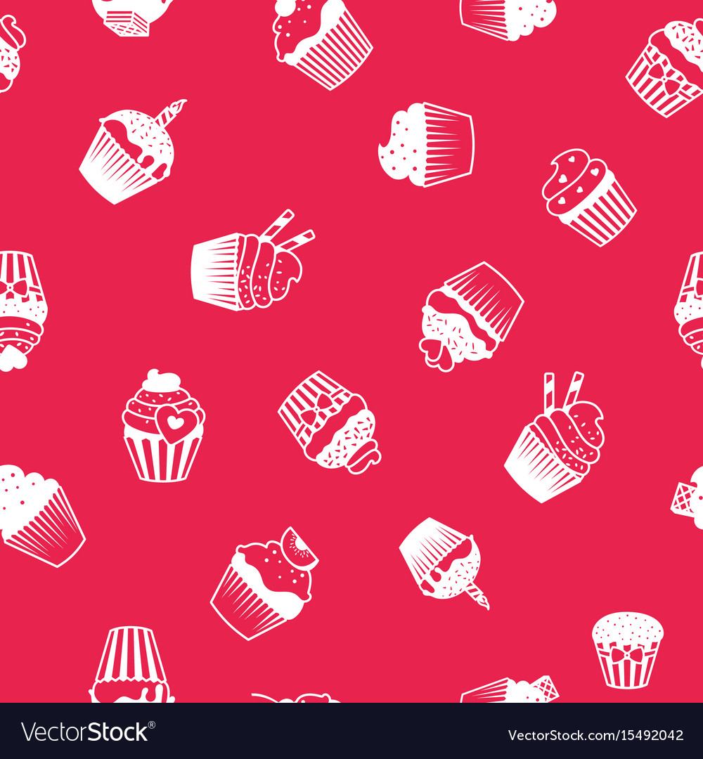 Bright decorative pattern with muffins