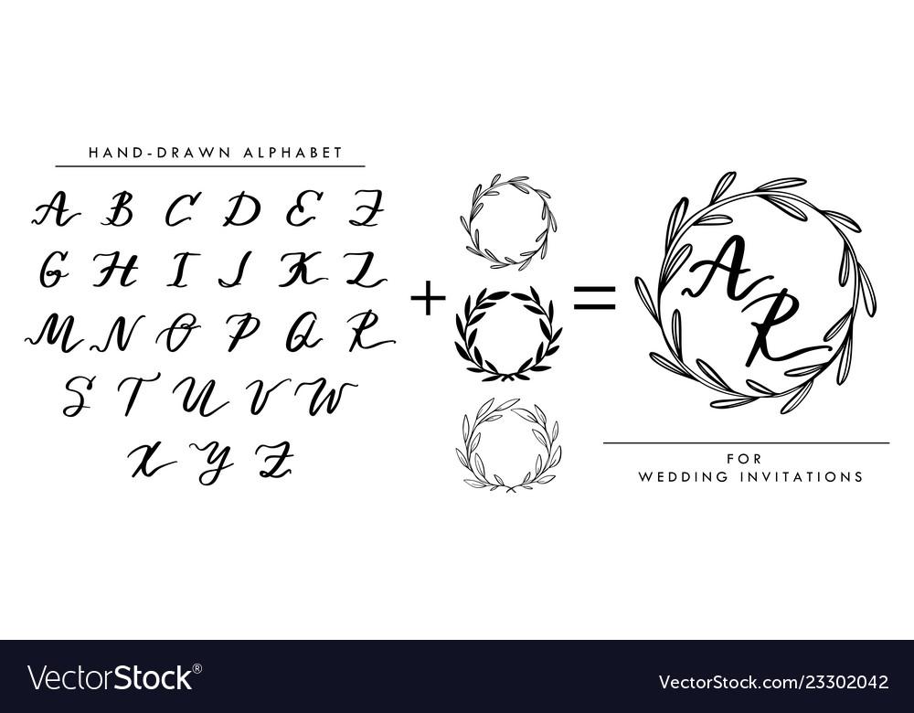 Collection of hand written alphabet