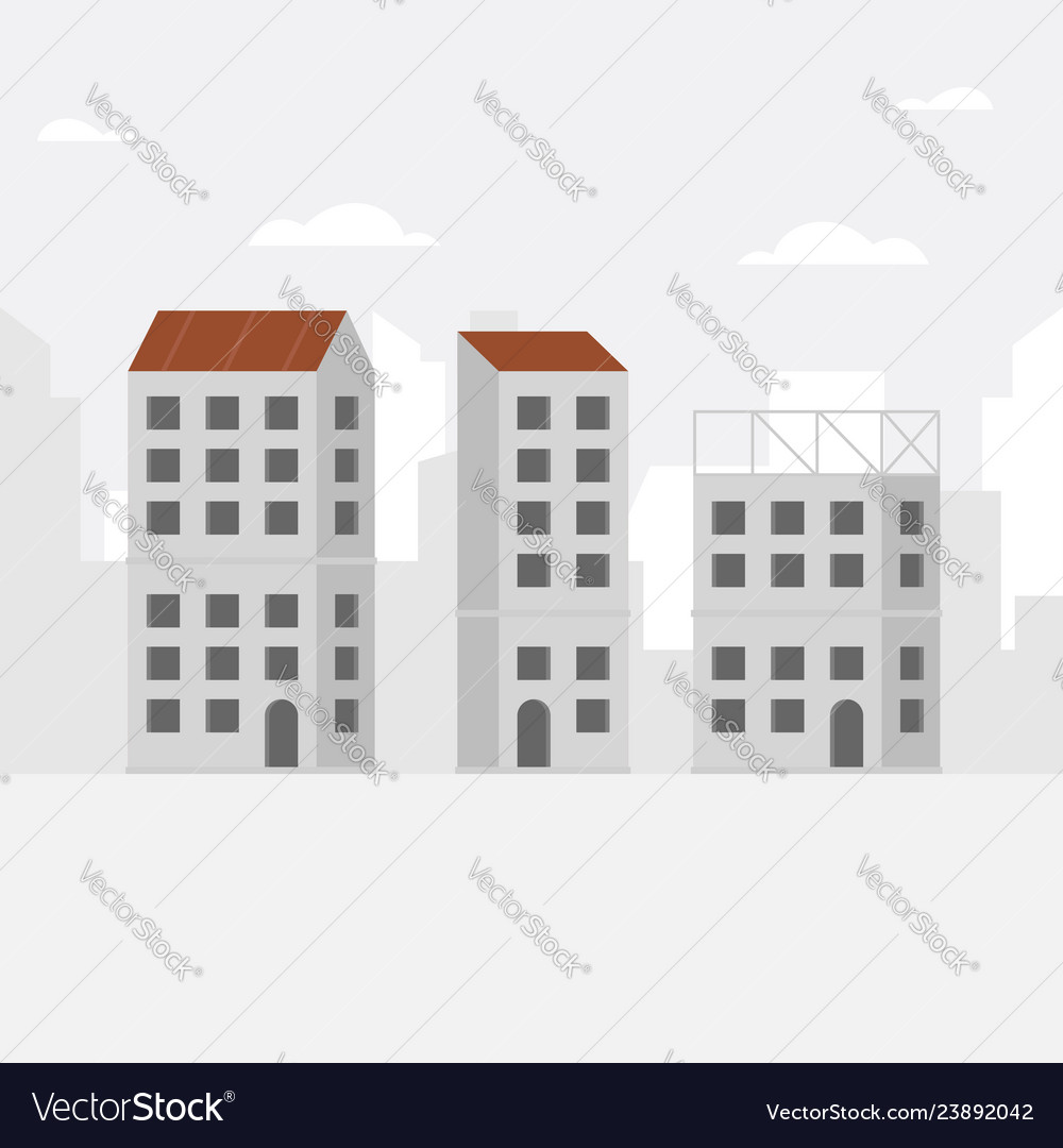 Construction background with unfinished building