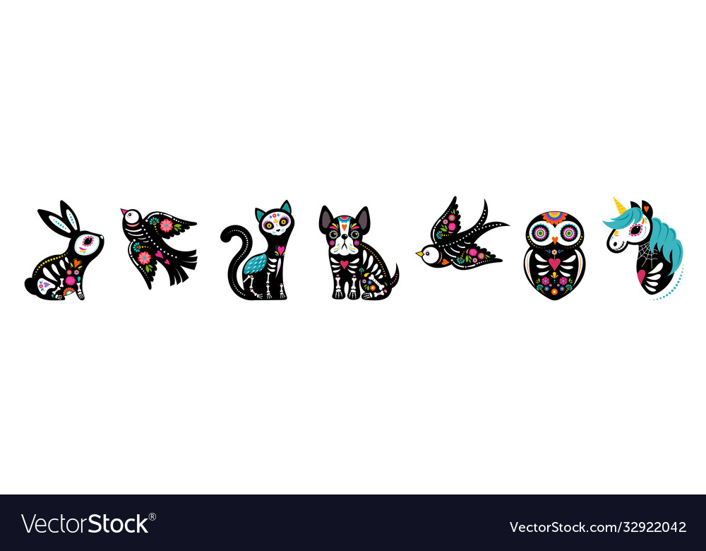 Day dead dia de los muertos animals vector