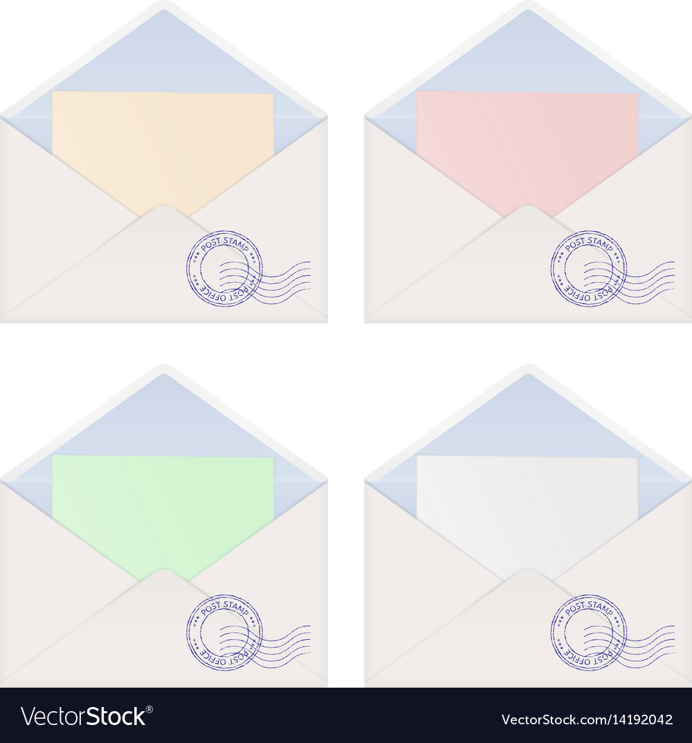 envelope with letter inside colored paper vector image