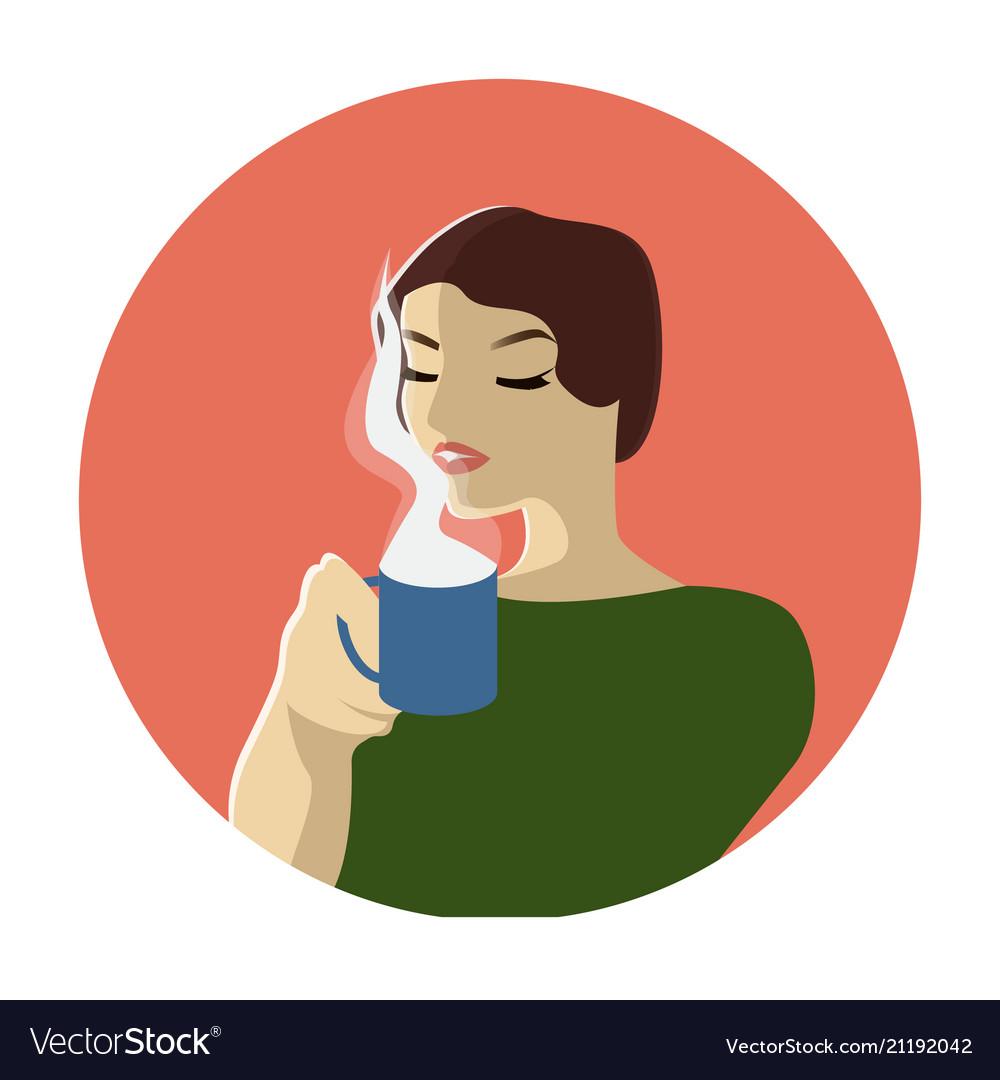 Fashion woman witn cup of coffee or tea pop art