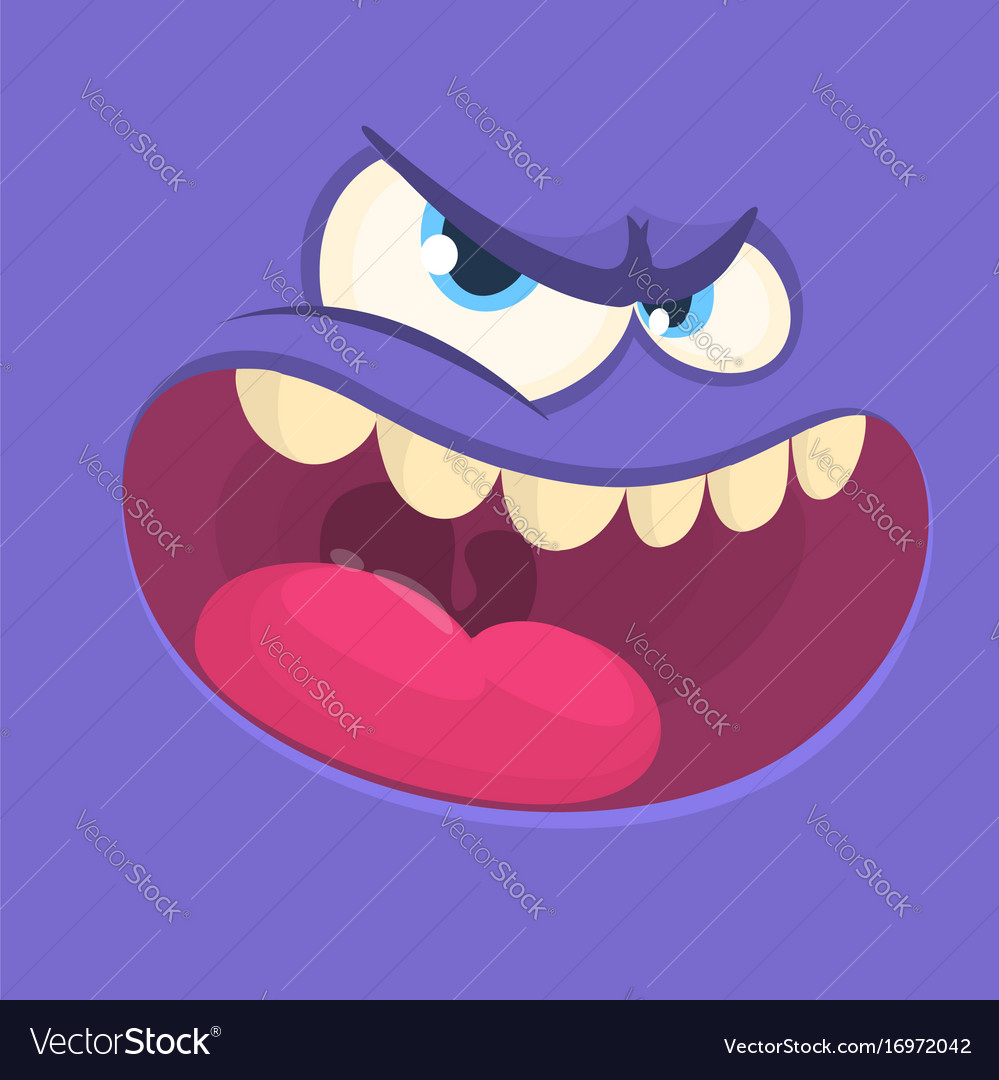 funny angry cartoon monster face royalty free vector image