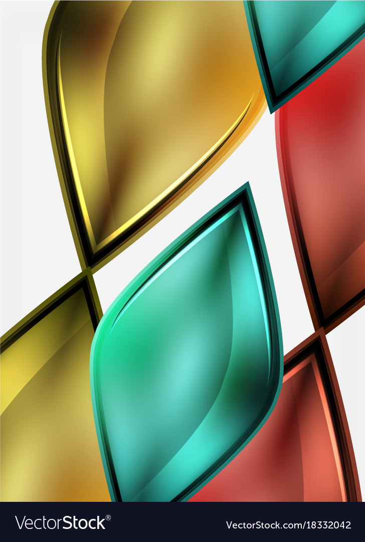 Glossy glass shapes abstract background