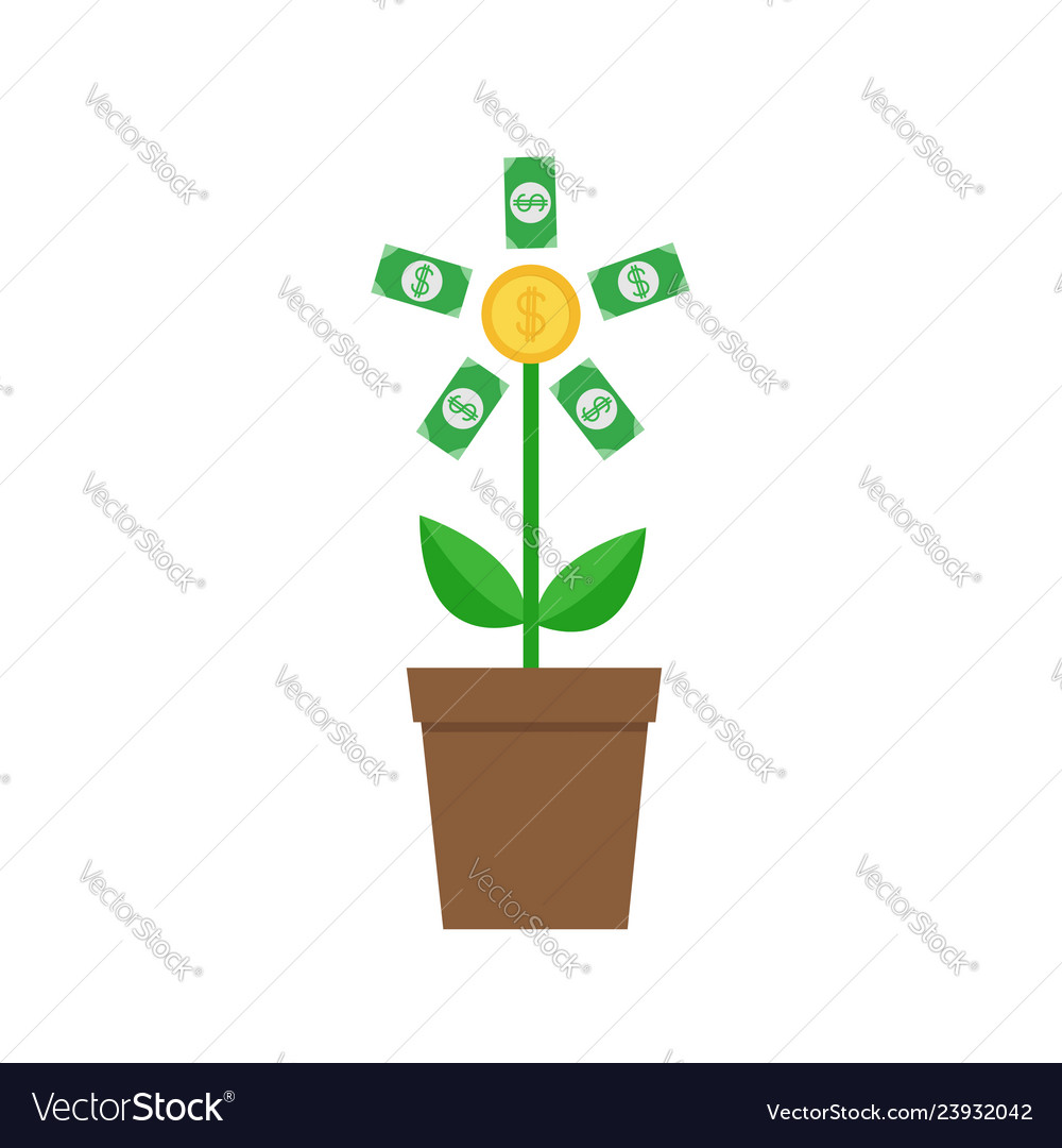 Growing paper money tree coin with dollar sign
