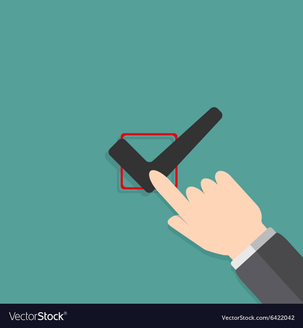 Hand filling check box vector image