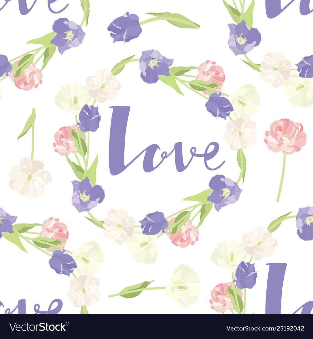 Pink and lilac tulips seamless pattern frame love