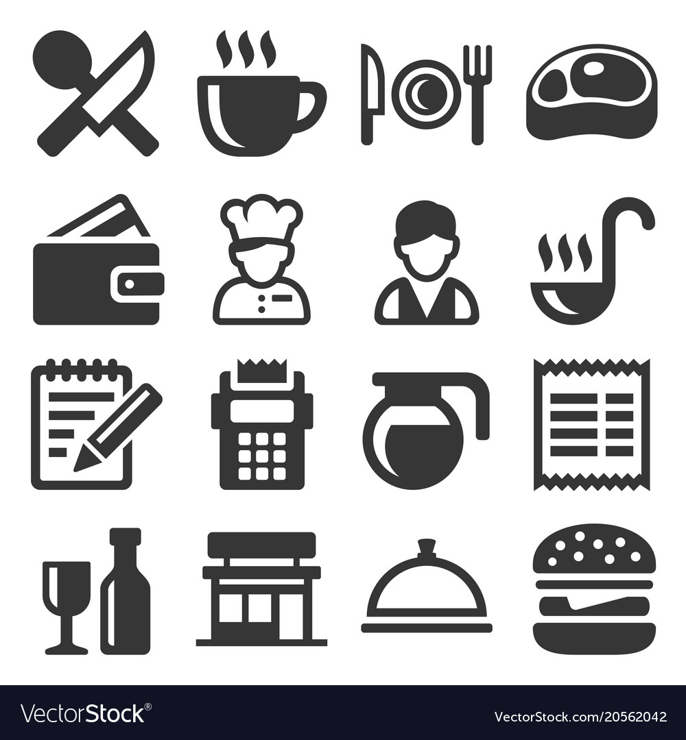 Restaurant Cooking And Kitchen Icons Set