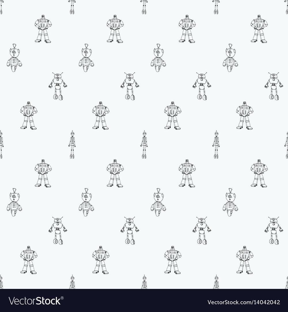 Robot doodles pattern