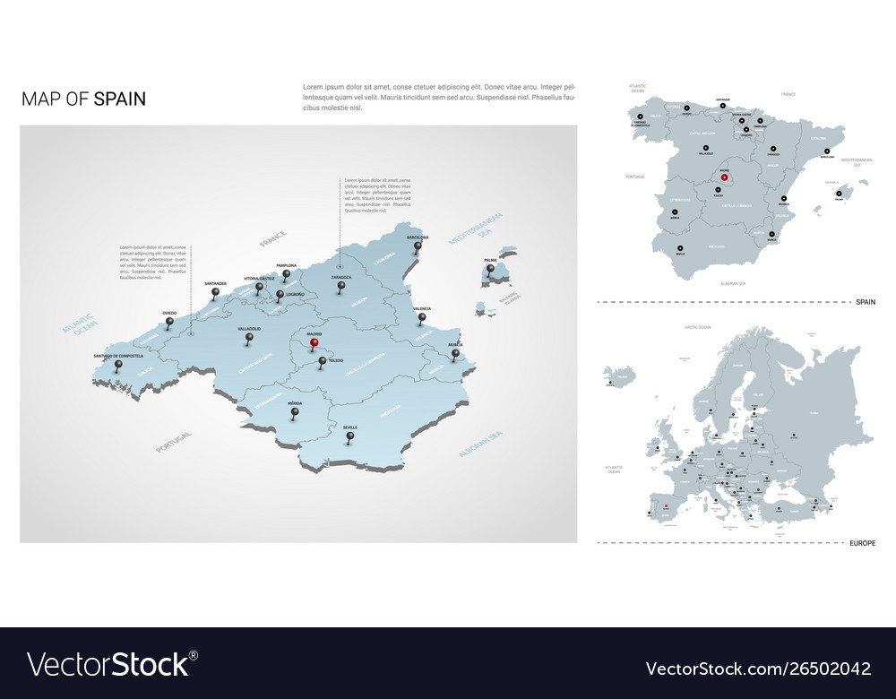 Map Of Spain With States.Set Spain Country Isometric 3d Map Spain Map