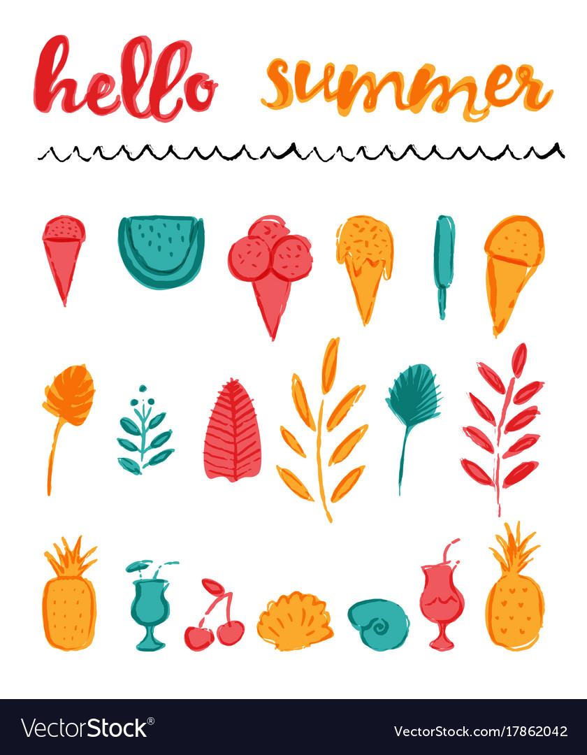 Set summer icons any purpose elements brush