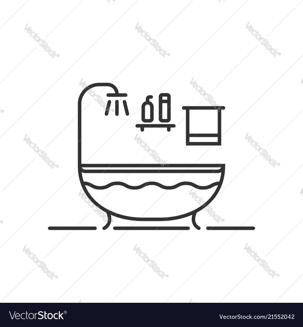 Thin line bath icon in bathroom