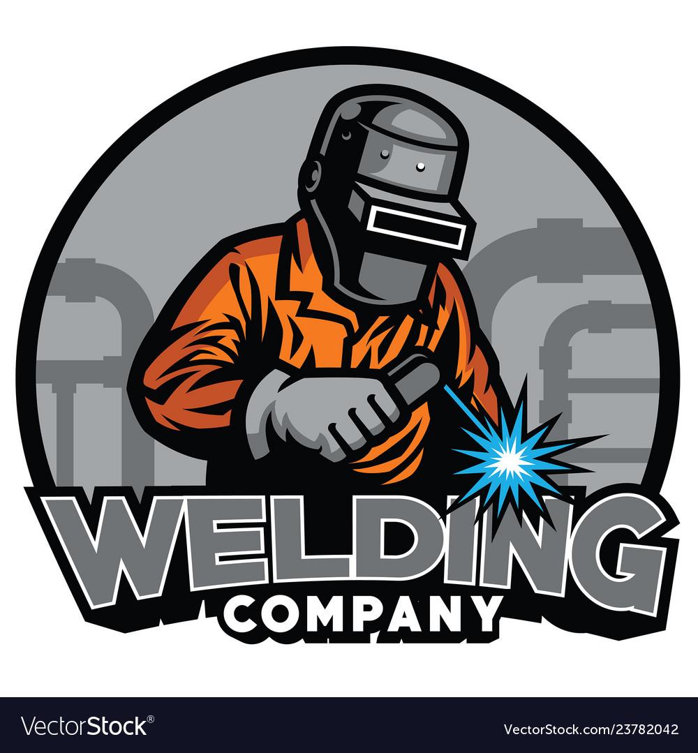 Welder Working With Weld Helmet In Badge Design Vector Image